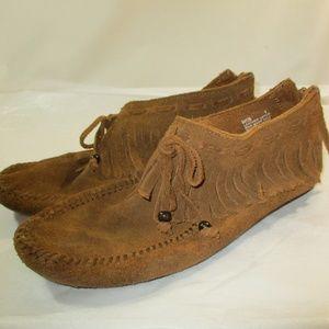 Minnetonka Leather Brown Fringe Booties 9